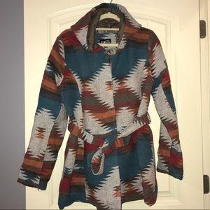 Sz XL rue 21 Aztec pattern jacket/coat w/hoodie.